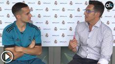 Lucas Vázquez, durante la entrevista concedida a OKDIARIO. (vídeo: Enrique Falcón)