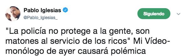 Los policías que vigilarán el chalet de Iglesias recuerdan que les llamó «matones de los ricos»