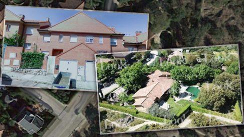 A la izquierda, calle de adosados en Rivas como en la que viven de alquiler Iglesias y Montero. Y a la derecha, su nuevo casoplón en Galapagar. / LOOK