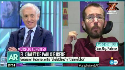 Eduardo Inda y Pablo Echenique en 'El programa de Ana Rosa'.