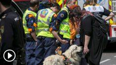 Parte del equipo de rescate de los obreros atrapados en el derrumbe en Chamberí. (Foto: EFE)
