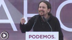 El líder de Podemos, Pablo Iglesias, en un mitin en Oviedo el 17 de mayo de 2015.