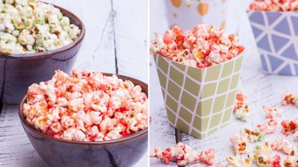 Receta de palomitas de colores caseras fáciles de preparar