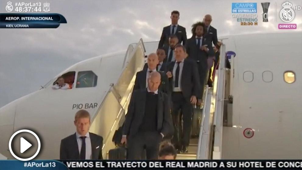 Así fue la llegada del Real Madrid a Kiev.