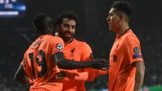 Sadio Mané, Mohamed Salah y Roberto Firmino celebran un gol con el Liverpool. (AFP) | Final Champions League 2018