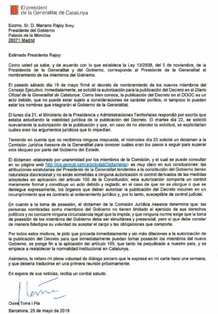 Carta de Quim Torra a Mariano Rajoy