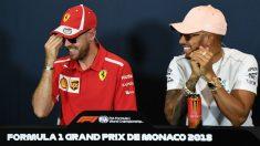 Hamilton y Vettel se ríen en la rueda de prensa previa al Gran Premio de Mónaco. (AFP)