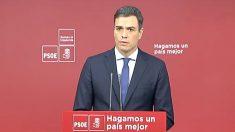 El secretario general del PSOE, Pedro Sánchez, en rueda de prensa