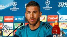 Sergio Ramos durante una rueda de prensa en Champions League. (AFP)