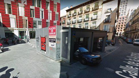 Aparcamiento robotizado de la calle Alameda, en Madrid.