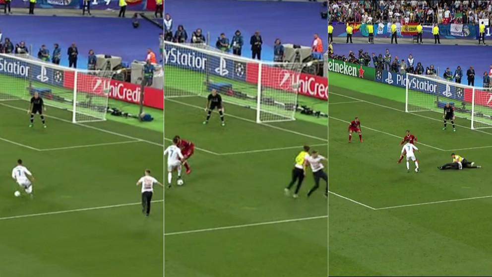 Un espontáneo evitó una ocasión clara de Cristiano Ronaldo en los últimos minutos de la final de la Champions League.   Real Madrid – Liverpool