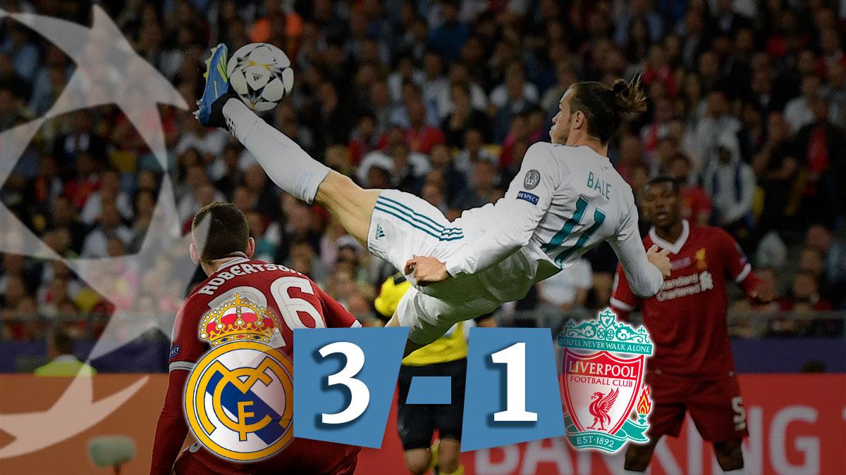Bale, héroe de Kiev, marca el 2-1 ante el Liverpool con una chilena espectacular.