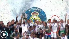 Theo Hernández fue el protagonista de la broma en el podio de la Champions.