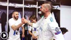 Así fue la celebración en el vestuario del Real Madrid.
