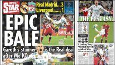 Bale ocupa las portadas de la prensa británica tras la final de la Champions.