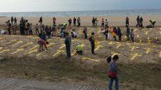 Cruces amarillas en la playa de Mataró.