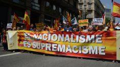 Manifestación convocada este domingo en Barcelona por la Coordinadora por Tabarnia y Somatemps, entre otras plataformas constitucionalistas. / SOMATEMPS