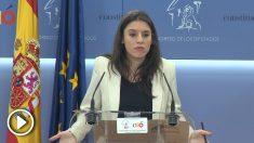 Irene Montero, en rueda de prensa en el Congreso. (EP)