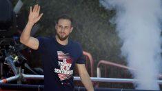 Jan Oblak durante la celebración de la Europa League en Neptuno. (AFP)
