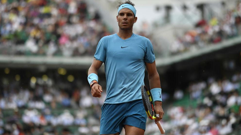 Rafa Nadal durante su debut en Roland Garros. (AFP)