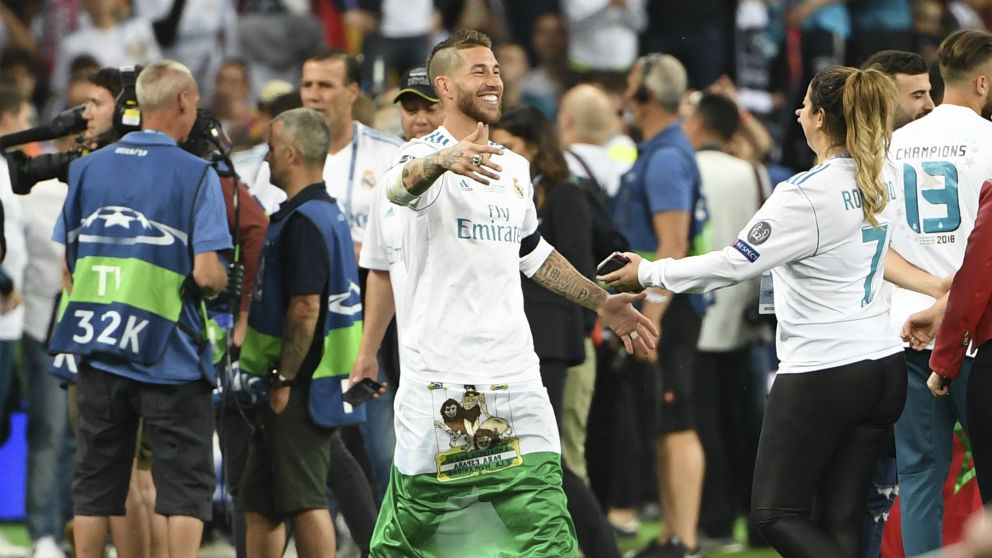 Sergio Ramos durante la celebración. (AFP)