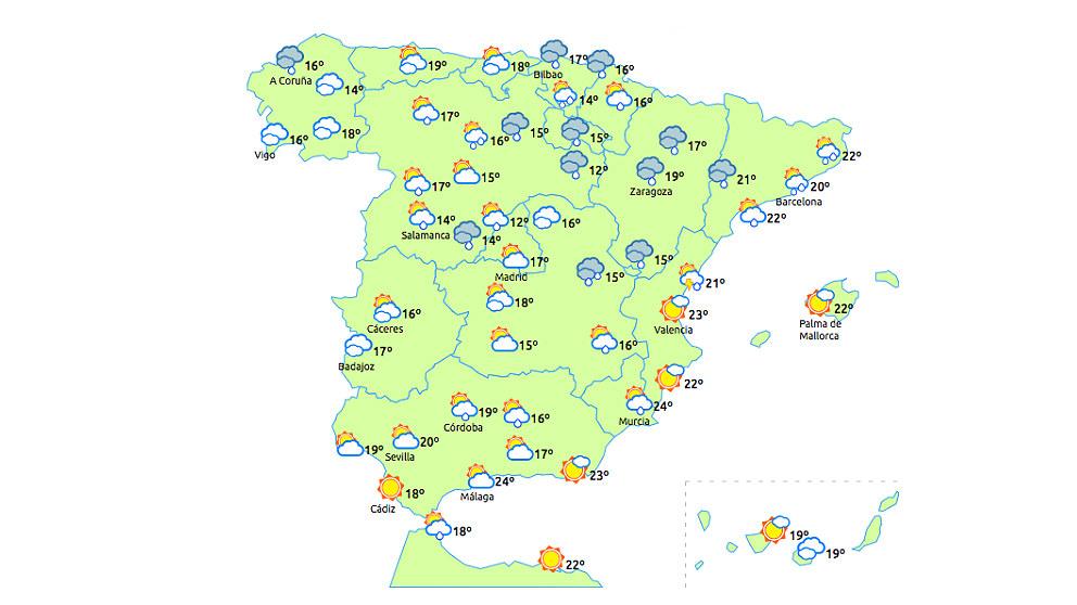 Previsión del tiempo para el miércoles, 30 de mayo.