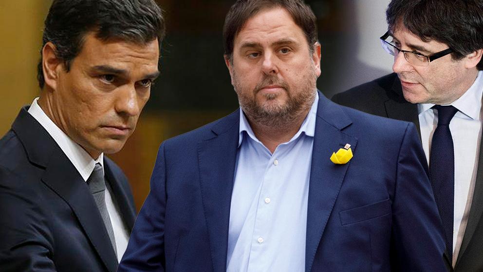 Pedro Sánchez, Oriol Junqueras y Carles Puigdemont.