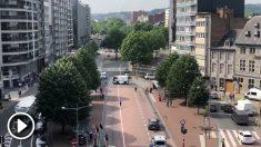 Las calles de Lieja (Bélgica) inmediatamente después del tiroteo.