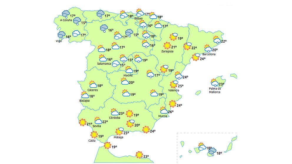 Previsión del tiempo, jueves 31 de mayo.
