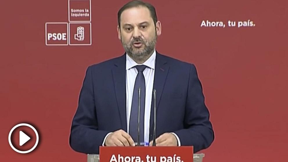 El secretario de Organización del PSOE, José Luis Ábalos, en una rueda de prensa en Ferraz en enero