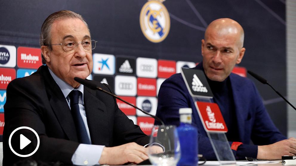 Florentino Pérez dedicó unas cariñosas palabras a Zinedine Zidane. (EFE)