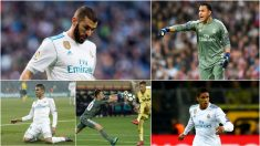Benzema, Keylor Navas, Casemiro, Luca Zidane y Varane.