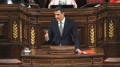 El secretario general del PSOE, Pedro Sánchez, durante su intervención en el Congreso de la moción de censura a Mariano Rajoy (Foto: Efe)