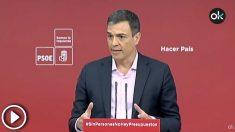 El secretario general del PSOE, Pedro Sánchez, durante una rueda de prensa en Ferraz