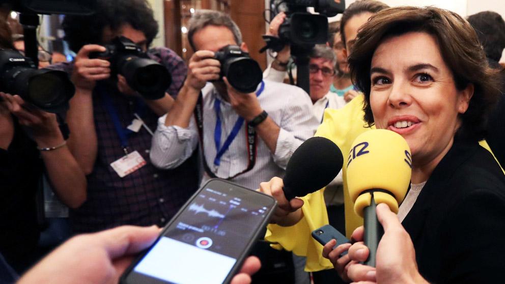 Soraya Sáenz de Santamaría en el hemiciclo (Foto: EFE)