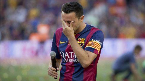 Xavi, el día de su adiós del Barcelona. (Getty)