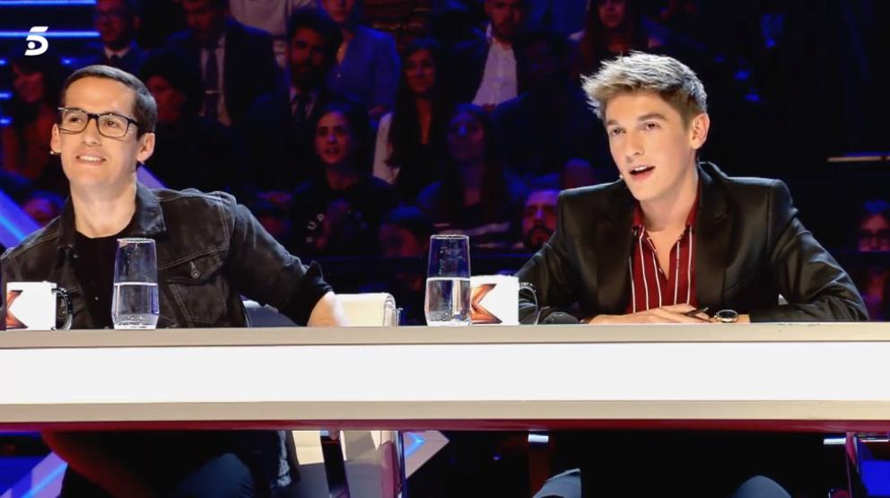 Xavi y su ayudante Jorge Ruiz en 'Factor X'
