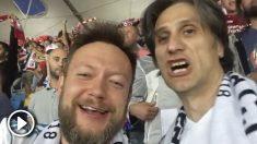 Dos madridistas de origen serbio disfrutaron de la Decimotercera junto a los seguidores del Liverpool.