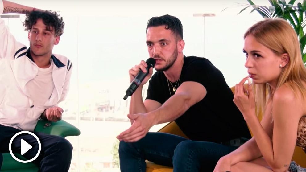 C. Tangana, junto a Yung Beef y Bad Gyal, durante la rueda de prensa de comienzo del festival Primavera Sound