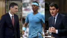Pedro Sánchez, Rafael Nadal y Albert Rivera.