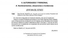 El BOE publica el nombramiento de Pedro Sánchez como presidente del Gobierno.