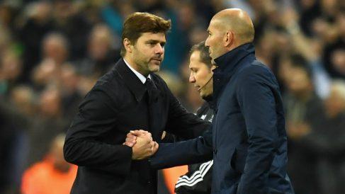 Pochettino y Zidane se saludan en el Tottenham – Real Madrid. (Getty)