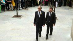 El presidente de la Generalitat, Quim Torra, y el vicepresidente y conseller de Economía, Pere Aragonès. (EFE)