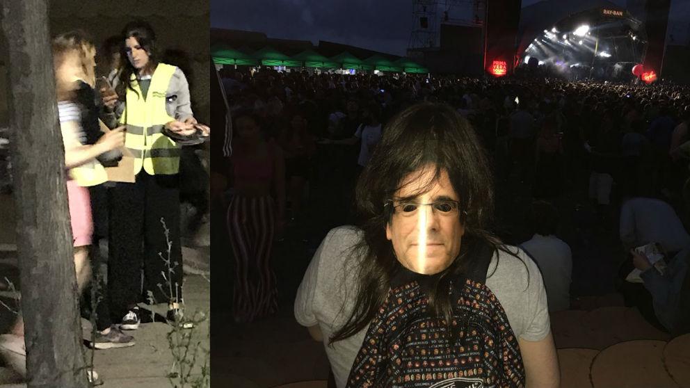 Una trabajadora del Primavera Sound reparte caretas de Puigdemont a los asistentes. Y, a la derecha, una asistente al festival con la careta. Foto: Twitter