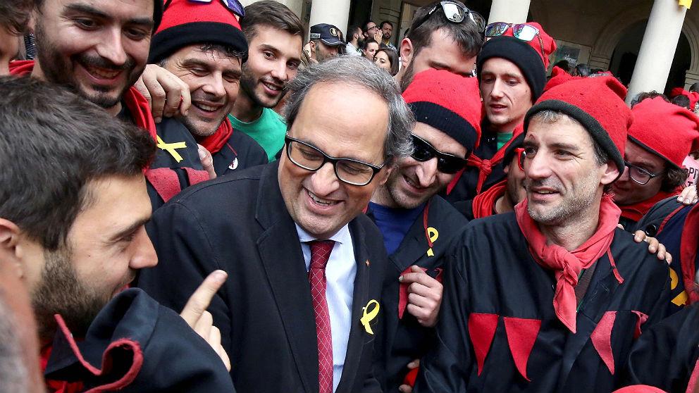 El president Quim Torra en la Patum de Berga, Barcelona. (EFE)