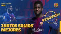 Samuel Umtiti, renovado por el Barcelona hasta 2023. (@fcbarcelona_es)