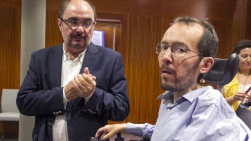Javier Lambán, presidente de Aragón, y Pablo Echenique, líder de Podemos en la región