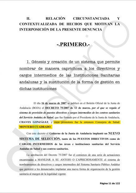 Extracto de la denuncia presentada por la plataforma de 'Spiriman' contra Montero.