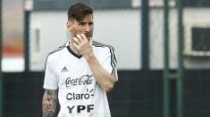Messi, en un entrenamiento de la selección de Argentina. (AFP)