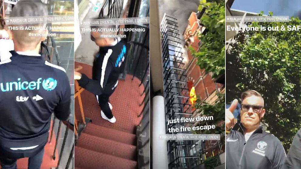Robbie Williams baja por las escaleras de inceidios del Hotel Mandarin Oriental de Londres, en llamas.